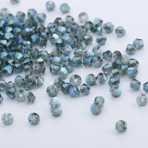 New 200pcs 3mm Glass Crystal Bicone beads Transparent green DIY Jewelry making