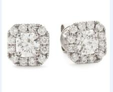 Diamond Halo Earrings 1.10ct F VS Brilliant Cut, set in 18ct White Gold