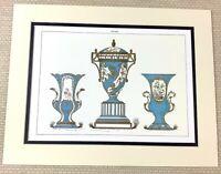 1988 Stampa Antico Porcellana Francese Orologio Garniture Set Blu Bianco Dorato
