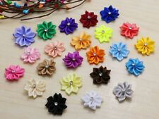 "20P 1"" Satin Ribbon Flowers w/Rhinestone Bows Craft Supplies Sewing Appliques"