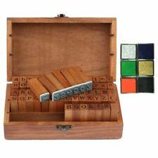 Wooden Alphabet Letter Number Stamp Box Set  70PCS with 6X Ink Pad DIY Craft