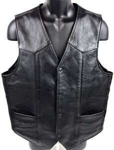 Universal Rider Mens M Leather Motorcycle Vest Black Heavy HOG