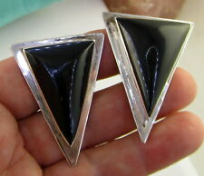 Silver Brack Onyx Clip On Earrings Vintage Huge Los Ballesteros Mexico Sterling
