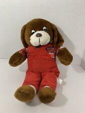 Nanco vintage brown farmer puppy dog plaid flannel shirt red corduroy overalls