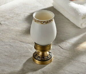 Antique Brass Deck Mounted Bathroom Toothbrush Holder with 1 Ceramic Cup Qba498