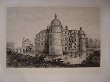 Lot de 3 EAUX FORTES Château de SERRANT Tombeau du Maréchal de Vaubrun  Gravures