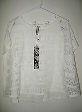 Kische M White Lacey Mesh Flashdance Look Knit Short Sleeve Shirt Cover Up NWT