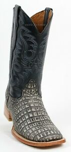 Men's Quincy Alligator Print Leather Western Cowboy Boots Wide Square Toe