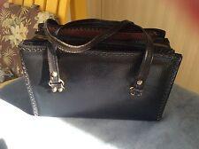 vintage antique handbag bag purse black leather Brass Tone Hardware