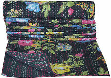 Indian Floral Kantha Quilt Embroidered Bedspread Throw Cotton Gudri Twin Blanket