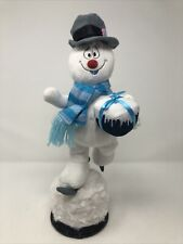 Rare Gemmy Animated Ice Skating Frosty The Snowman Spinning & Singing Euc