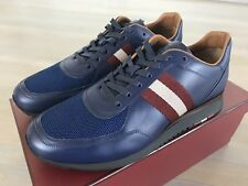 700$ Bally Aston Blue Marine Leather Sneakers size US 12.5 Made in Switzerland