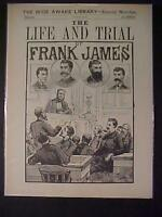 VINTAGE NEWSPAPER HEADLINE ~OUTLAW COWBOY BANDIT FRANK JAMES~ COURT TRIAL 1883