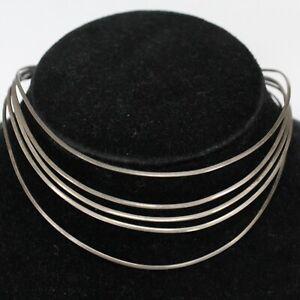 Sterling Silver Multi-Strand Modernist Choker Bib Necklace