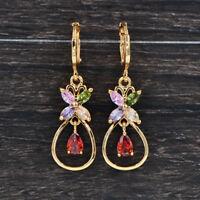 Fashion Women Gold Plated Multi-Color Cubic Zirconia CZ Wedding Earrings Jewelry