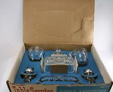 Anchor Hocking Glass Clear Early American Prescut EAPG 7 piece Table Service Set