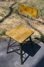 Vintage Solid Maple Wood Steel Industrial Drafting Art Adjustable Stool Chair