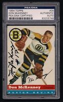 DON McKENNEY SIGNED 1954 TOPPS HOCKEY ROOKIE CARD #35 PSA/DNA Auto BOSTON BRUINS