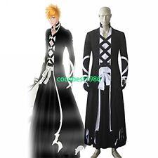 Bleach Ichigo Kurosaki Bankai Black Cloak Kimono Cosplay Costume