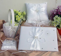 IVORY WEDDING GUEST BOOK/PEN & PEN HOLDER/RING CUSHION/FLOWER GIRL BASKET/GARTER