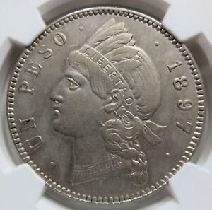 DOMINICAN Republic 1 peso 1897 A NGC AU Details Beautiful!