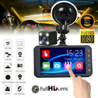 4'' Dual Lens Car DVR 1080p Dash Cam Recorder Touching Front and Rear Car Camera