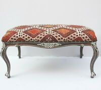 Vintage Kilim cover Ottoman,Kilim Upholstered Furnitures,coffee table furnitures