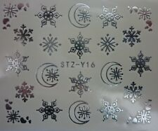 Nail Art Water Decals Stickers Christmas Metallic SILVER Snowflakes Moon STZY16