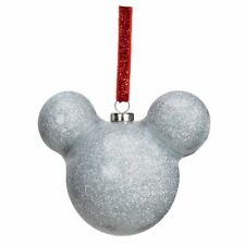 Disney Mickey Mouse Silver Glitter Christmas Tree Hanging With Red Ribbon Bauble