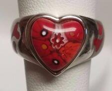 Alan K Design RED HEART Ring Millefiori Murano Sterling Silver 925 sz 6 euc LOVE