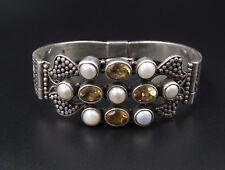 """Balinese Sterling Silver Citrine Pearl Ornate Hinged Bracelet 7.25"""" BS1806"""