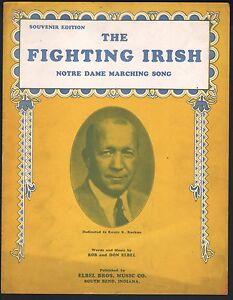 Fighting Irish 1920 Knute Rockne Notre Dame Sheet Music