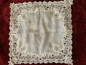 Gorgeous Antique French Linon Handkerchief with needle lace edging - Initials RA