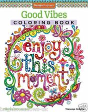 Good Vibes Happy Thoughts Adult Colouring Book Creative Art Therapy Positive Day
