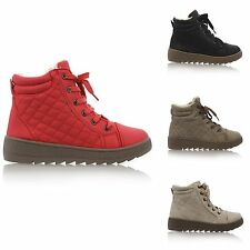 WOMENS FAUX FUR LINED LACE UP QUILTED LADIES WINTER SNOW ANKLE BOOTS SIZE 3-8