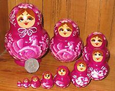Nesting Russian doll Matryoshka Babushka 10 VIOLET PURPLE Birds Nikitina ART