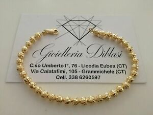BRACCIALE Uomo Donna Oro Giallo 18 Karati 750% Unisex ORO con Sfere Diamantate