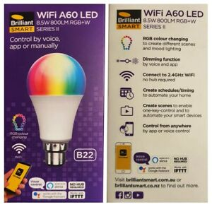 Brilliant SMART WiFi LED Globe 8.5W A60 B22 800 Lumens Colour Change App Control