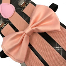 SUSPENDERS and BOW TIE  SET Peach Color Tuxedo Classic Wedding Costume Tux Prom