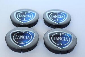 LANCIA 4pcs Plastic Wheel Centre Caps with Silicone Emblem 60mm/55mm NEW