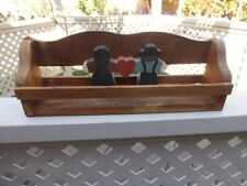 Amish Wall Shelf w Wooden Amish Couple Figurines