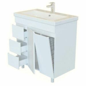 Badmöbel Waschbecken mit Unterschrank Waschtisch ROYAL Weiß matt Lack 80 cm Neu