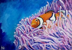 Clownfish in the anemone original painting on A4 watercolour Paper