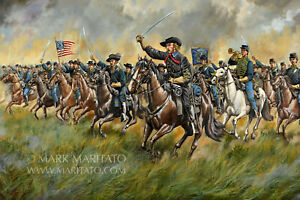 Mark Maritato Signed Civil War Art Print The Wolverines Custer Gettysburg 19x13