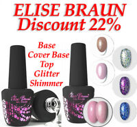 ELISE BRAUN Gel Nail Polish Base Rubber Top No Wipe Top With Shimmer Velur