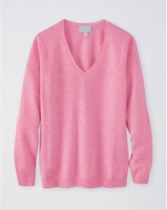 Pure Collection Cashmere Straight Fit V Neck Sweater -Hibis.Pink -UK 12 RRP £125