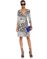 DVF New Julian Two Silk Wrap Dress  Black/White Size 6, 8