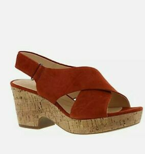 Ladies Clarks Artisan Adjustable Wedge Sandals Maritsa Lara RUST size 6M