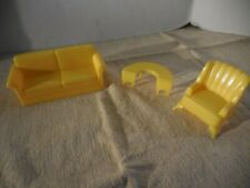 Vintage Marx Plastic Doll House Furniture Yellow Living Room Sofa Chair Table