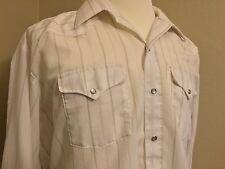 Men's Panhandle Slim White/Tan Western Peral Snap Long Slevee Sz.18-35